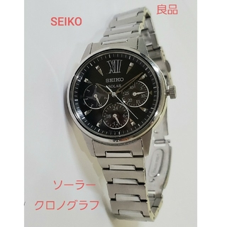 セイコー(SEIKO)のSEIKO 良品 ソーラー クロノグラフ セイコー アナログ ブラック 腕時計(腕時計)