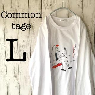【新品未使用品×ロンT】美品 メンズ トップス 長袖 白 赤 Lサイズ ゆるだぼ(Tシャツ/カットソー(七分/長袖))