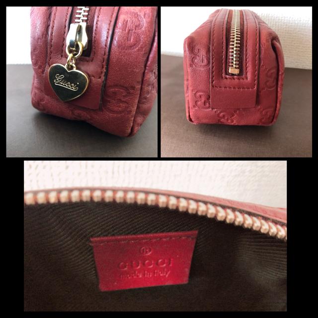 Gucci(グッチ)のGUCCI グッチシマ ポーチ レッド レディースのファッション小物(ポーチ)の商品写真