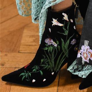 マメ(mame)のmame ベロア ボタニカル刺繍 ブーツ(ブーツ)