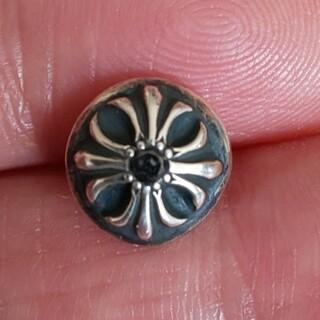 クロムハーツ(Chrome Hearts)の美品クロムハーツクロスボールピアス ブラックダイヤモンド2個セット(ピアス(両耳用))