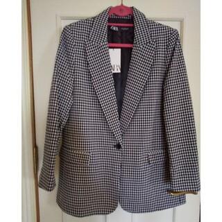 ザラ(ZARA)のザラ春夏サッカー生地ブラックチェックジャケットタグ付き40サイズ(テーラードジャケット)