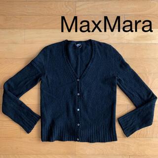 マックスマーラ(Max Mara)のMaxMara イタリア製 ゆったりめ カーディガン ブラック トップス(カーディガン)