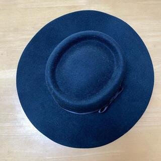 アズールバイマウジー(AZUL by moussy)のハット 帽子 リボン シンプル ブラック 黒(ハット)