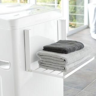 洗濯機横マグネット折り畳み棚 タワー(バス収納)
