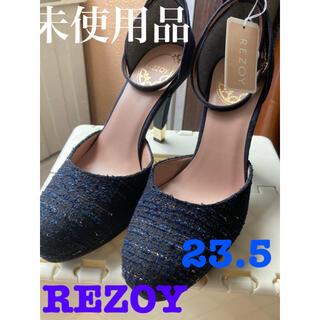 REZOY - REZOY ツイードパンプス ネイビー23.5