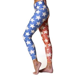 Teeki Yoga Hot pants Stars レッドブルー大柄スターxs(ヨガ)