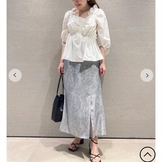 スナイデル(snidel)のラインフラワーナロースカート サックス ブルー サイズ1(ひざ丈スカート)