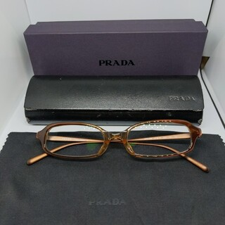 PRADA - 【正規品】プラダ PRADA メガネ クリア×ブラウン 度入り サングラス