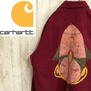 carhartt - カーハート ダック地ワークシャツジャケット バックペイント 裏地チェック