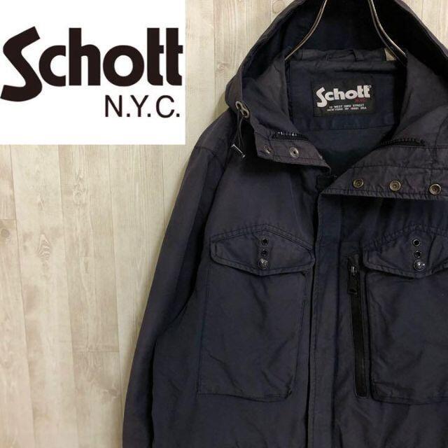 schott(ショット)のショット フルジップ 混紡ジャケット ミリタリー調 フーディー ビッグサイズ メンズのジャケット/アウター(その他)の商品写真