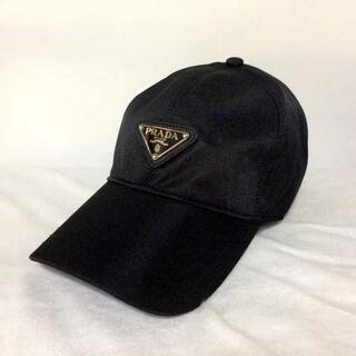 PRADA - PRADA プラダ ナイロン ベースボールキャップ フロント三角プレート 黒