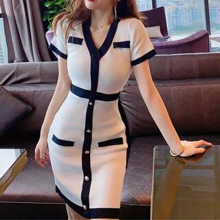 リップサービス(LIP SERVICE)のバイカラー配色Vネックワンピース(ホワイト)(ナイトドレス)
