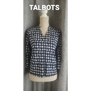 タルボット(TALBOTS)の大変美品 TALBOTS  シンプルな大人ジャージブラウス 濃紺濃淡(シャツ/ブラウス(長袖/七分))