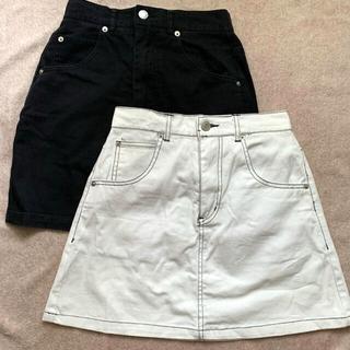 スピンズ(SPINNS)の【お買い得】SPINNS 台形ミニスカート白&黒(ミニスカート)