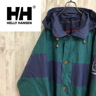 ヘリーハンセン(HELLY HANSEN)のヘリーハンセン 90s ナイロンジャケット フーデッド 刺繍ロゴ グリーン(ナイロンジャケット)