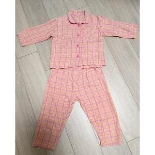 ユニクロ(UNIQLO)の【専用】ピンクチェックパジャマ100cm(パジャマ)