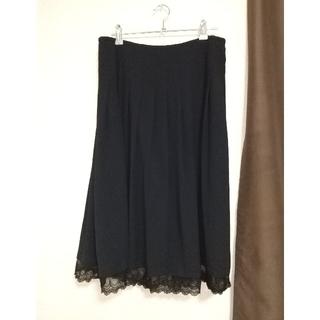 エル(ELLE)のALLURE de ELLE の黒スカート L(ひざ丈スカート)