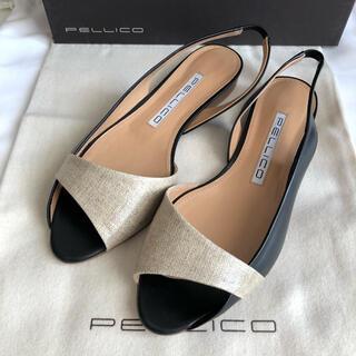 PELLICO - 57200円 ペリーコ リネン コンビバックストラップ サンダル 新品 24