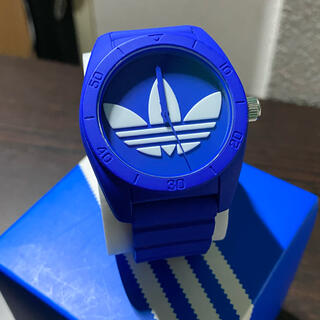 adidas - adidas アディダス トレフォイルロゴ 腕時計 青 美品