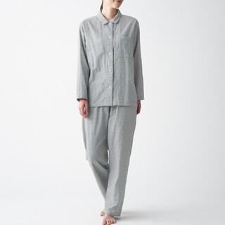 MUJI (無印良品) - 脇に縫い目のない 二重ガーゼパジャマ グレー×柄