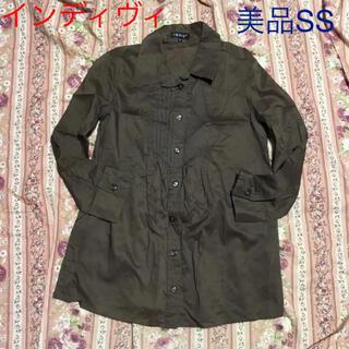 インディヴィ(INDIVI)のインディヴィ 2WAYシャツ ブラウス 5SS 茶色 ブラウン 美品アンタイトル(シャツ/ブラウス(長袖/七分))