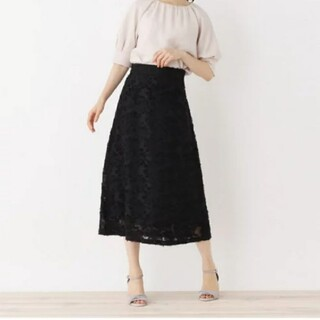 オペークドットクリップ(OPAQUE.CLIP)のbeaute de opaque 刺繍ミモレ丈スカート(ロングスカート)