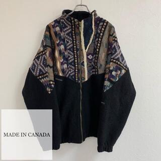 ART VINTAGE - vintage カナダ製 3Dニット 立体セーター ウール ブルゾン レトロ古着