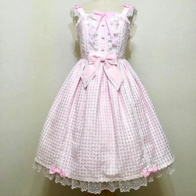 Angelic Pretty(アンジェリックプリティー)のAngelic Pretty Hummingギンガムジャンパースカート 送料込み レディースのワンピース(ひざ丈ワンピース)の商品写真