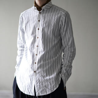 ポールハーデン(Paul Harnden)のRaw cut narrow shirt white✖️gray stripe(シャツ)
