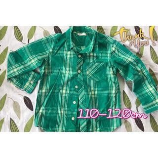 ジーユー(GU)のGUジーユーキッズ長袖シャツ 110cm-120cm 美品チェックシャツ (ブラウス)