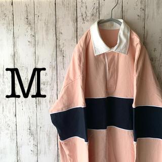 【古着男子×ポロシャツ】メンズ トップス ピンク 紺色 太ボーダー くすみカラー(ポロシャツ)