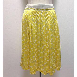 エル(ELLE)のELLE レモンイエローの花柄スカート Mサイズ(ひざ丈スカート)