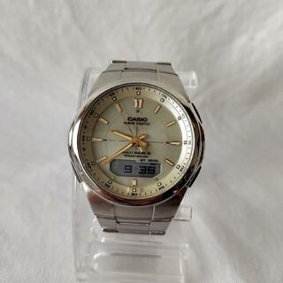 カシオ(CASIO)のカシオメンズ電波ソーラーウェーブセプター電波防水デジアナワールドタイムステンレス(腕時計(アナログ))