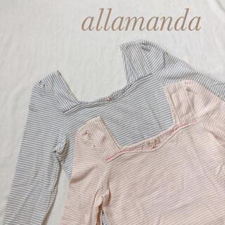 アラマンダ(allamanda)のアラマンダ⭐︎ボーダーカットソー⭐︎ピンク&ブルー二枚セット(カットソー(長袖/七分))