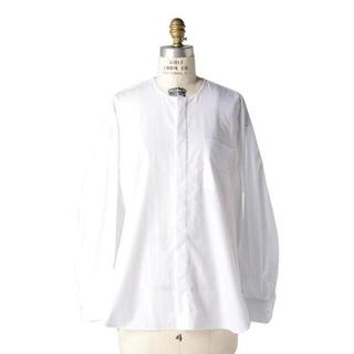 ドゥロワー(Drawer)のDrawer コットン ノーカラー シャツ ブラウス 白 ホワイト(シャツ/ブラウス(長袖/七分))