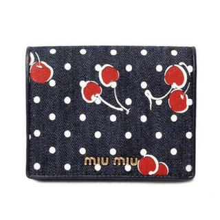 ミュウミュウ(miumiu)のmiumiu さくらんぼ柄デニム財布 チェリー柄(財布)