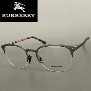 BURBERRY - バーバリー グレー ガンメタ メガネ 高級 眼鏡 フレーム チェック メタル