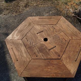 ヘキサゴンテーブル 中セット ウォールナット(アウトドアテーブル)