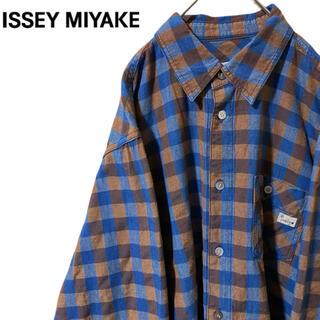 イッセイミヤケ(ISSEY MIYAKE)の★80〜90s イッセイミヤケ チェックシャツ ビッグシルエット ブラウン(シャツ)