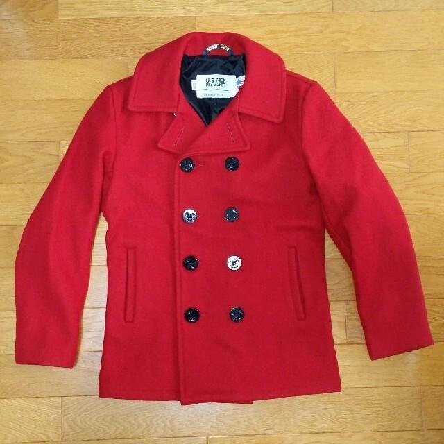 schott(ショット)の極美品 ショット ピーコート 7118 赤 38 メンズ メンズのジャケット/アウター(ピーコート)の商品写真