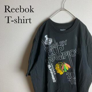 リーボック(Reebok)のUS 古着 リーボック NHL ブラック ホークス Tシャツ XL ブラック(Tシャツ/カットソー(半袖/袖なし))