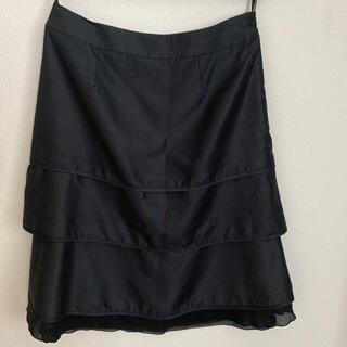 エル(ELLE)のELLE 黒スカート 36サイズ(ひざ丈スカート)