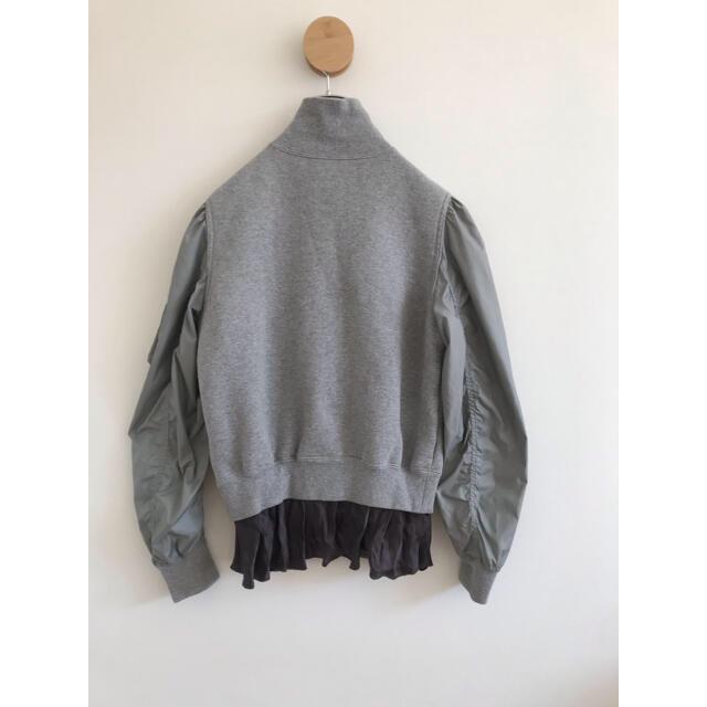 sacai luck(サカイラック)のサカイラック・ジャージ切り替えブルゾン・グレー レディースのジャケット/アウター(ブルゾン)の商品写真