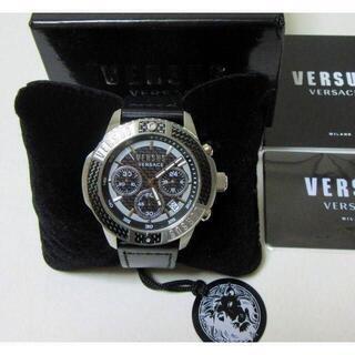 ヴェルサーチ(VERSACE)の新品 VERSUS VERSACE クロノグラフ メンズ腕時計 レザーベルト(腕時計(アナログ))