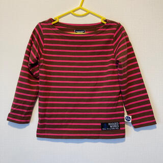 ラゲッドワークス(RUGGEDWORKS)のRUGGEDWORKSラゲッドワークスブラウンピンクボーダーTシャツ100(Tシャツ/カットソー)