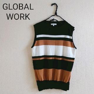 GLOBAL WORK - GLOBAL WORK グローバルワーク ボーダー ノースリーブニット