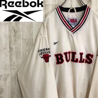 リーボック(Reebok)のリーボック ナイロンジャケット NBA シカゴブルズ オフホワイト 古着男子(ナイロンジャケット)