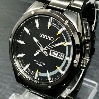 セイコー(SEIKO)のセイコー 腕時計 メンズ キネティック 電池交換 不要 ブラック 裏スケルトン(腕時計(アナログ))