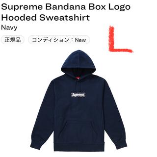 シュプリーム(Supreme)のsupreme bandana boxlogo hooded ネイビー L(パーカー)